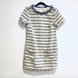 Michael Kors chain link tweed boucle dress